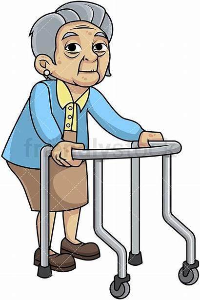 Walker Cartoon Woman Frail Vector Clipart Feeble