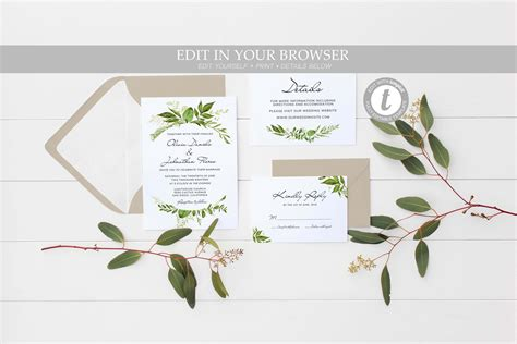 Greenery wedding invitation template INSTANT DOWNLOAD SET