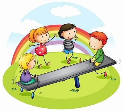 Playing Park Children Seesaw Many Clipart Illustration