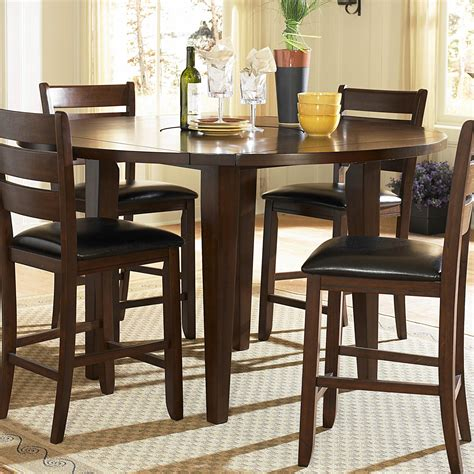 bar dining table set round brown wood bar height dining table set with