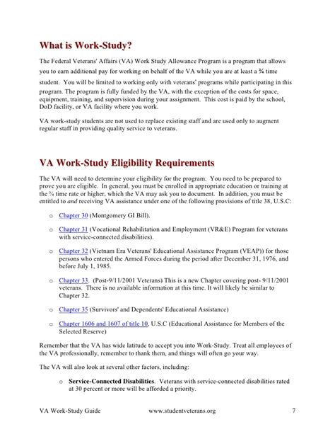 Va Work Study Resume va work study guide