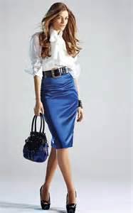 Blue Satin Pencil Skirt