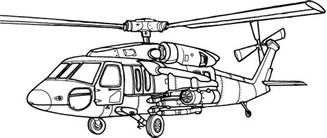 60 Black Hawk Helicopter Sketch Coloring Page