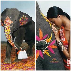 Decorated-Indian-Elephants-Hermes-Ad-Campaign - Paint
