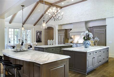 Kitchen Vaulted Ceiling with Wood Beams   Transitional