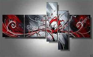 5 Piece Wall Art 100 Hand Painted Modern Abstract Red