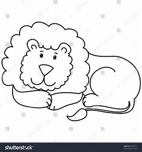 Cute Lion Lie Down Cartoon Line Stock Vector 89438236 ...