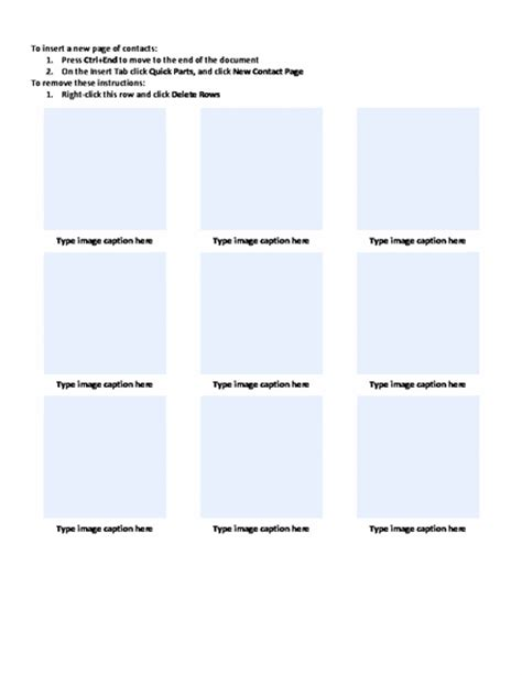 photo contact  captions sheet template word templates