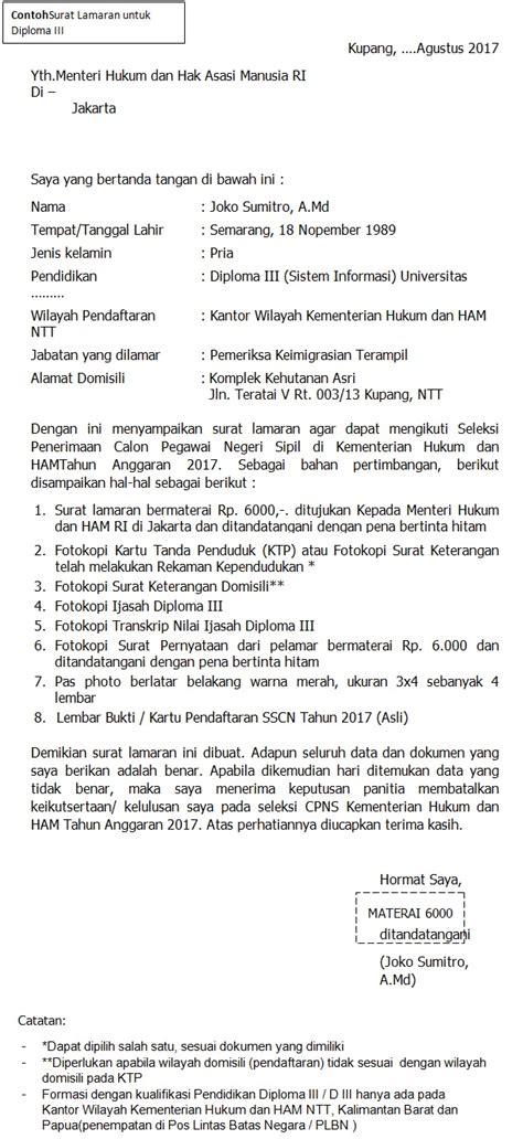 Contoh Surat Pernyataan Cpns 2017 by Format Terbaru Contoh Surat Lamaran Cpns Kementerian Hukum