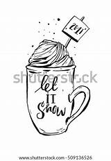 Cream Whipped Ink Coloring Cocoa Mug Coffee Drawn Graphic Shutterstock Helterskelter Simple sketch template