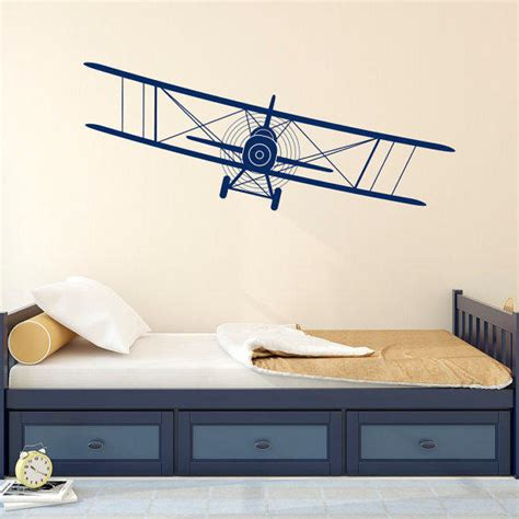 Airplane nursery art set of 4, boy nursery decor, boys nursery art, airplane decor, pilot gift, vintage airplane prints, plane nursery art. Biplane Decal Airplane Wall Decals Plane from FabWallDecals on