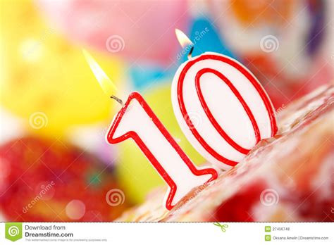Number 10 Candle On A Cake Stock Photo. Image Of Colored