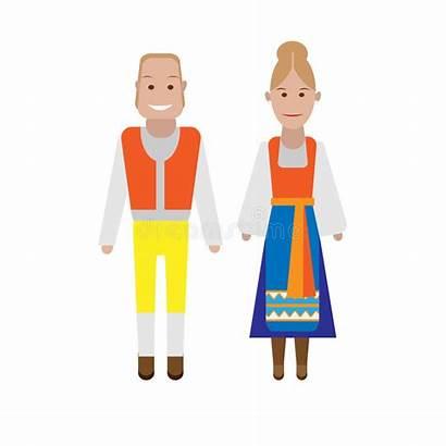 National Swedish Costume Illustration Background Serbian Vector