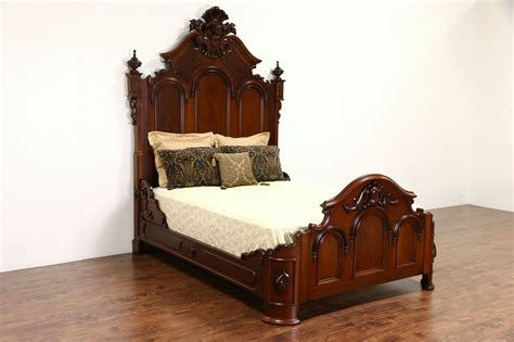 sold victorian 1865 antique queen size walnut bed hand