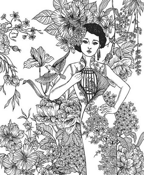 Asian beauty coloring page Fairy coloring Coloring pages