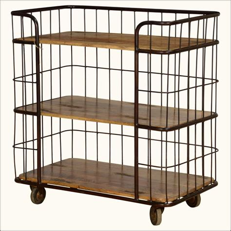 fence me in mango wood iron rolling 3 shelf cart