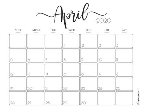 printable april  calendars onedesblog