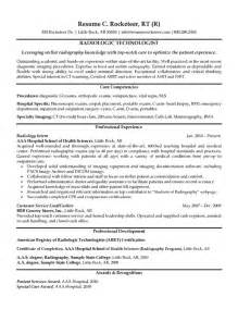 Resume Cover Template Radiologic Technologist Resume Exle Xray Radiologic Technologist Resume