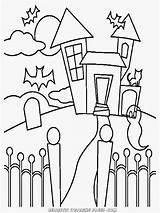 Haunted Coloring Pages Simple Halloween Easy Mansion Inspiring Getdrawings Printable Getcolorings Realistic sketch template