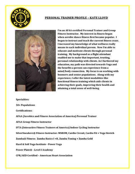 Trainer Profile Sle by Best Photos Of Personal Trainer Bio Template Personal