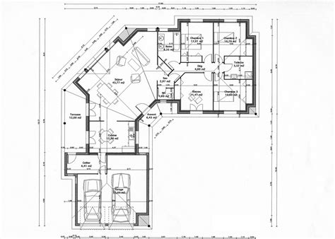 plan maison 90m2 3 chambres cuisine modele plan maison plein pied gratuit plan maison