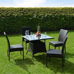 New Aluminium Rattan Wicker Garden Furniture Table & 4 ...