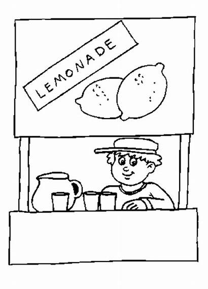 Lemonade Stand Coloring Pages Printable Sheets Clipart