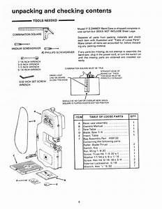 Craftsman 113244401 User Manual 10 Inch Band Saw Manuals