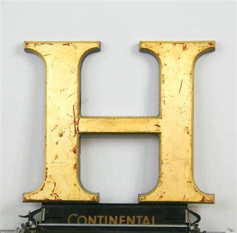 vintage industrial letter industrial letter h antique signage vintage 24 carat gold 77522