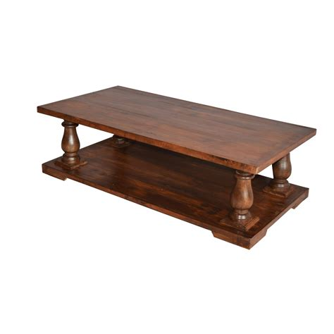 Wooden Coffee Table Old Teak Wood Top  Indian Furniture