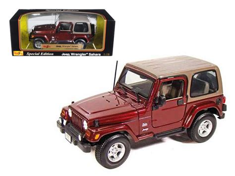 burgundy jeep 2017 jeep wrangler sahara maroon 1 18 diecast model car by maisto