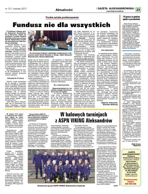 Gazeta aleksandrowska 121 2017 by Wydawnictwo Kujawy - Issuu