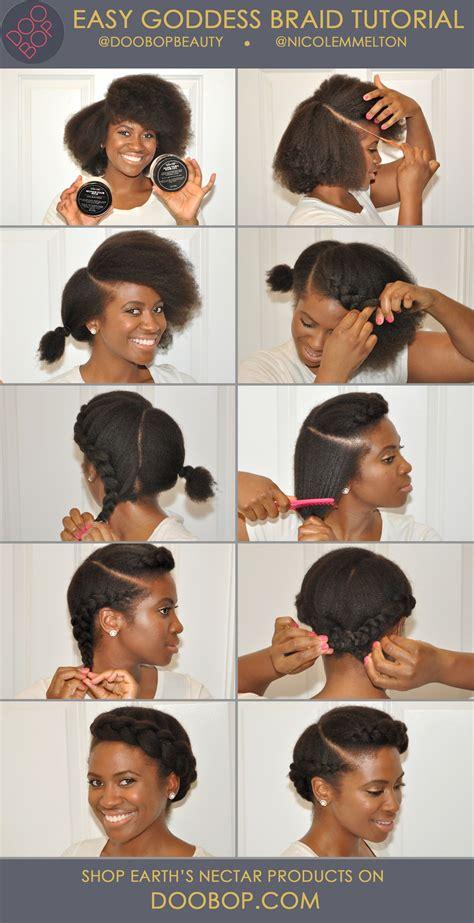 easy natural hair   goddess braid  earths