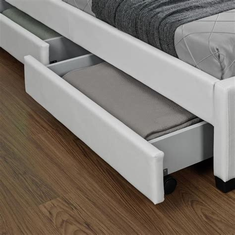 led pour chambre lit enfield blanc led et rangement tiroirs 160x200 cm