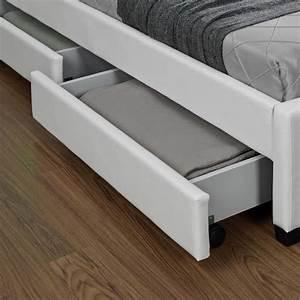 Lit Enfield Blanc LED et rangement tiroirs 160x200 cm Achat/Vente lit pas cher Couleur