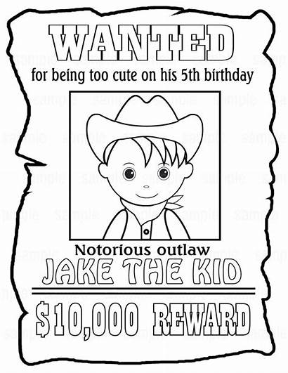 Wanted Poster Coloring Birthday Printable Cowboy Party