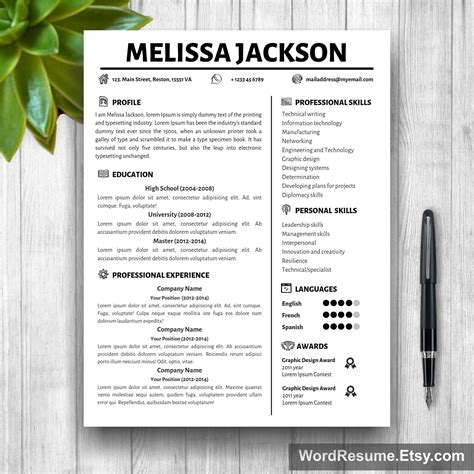 Mock Resume Templates by Creative Simple Resume Template Quot Jackson