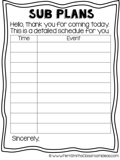 sub plans template classroom freebies fern smith s free year sub plan printable