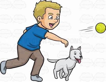 Dog Clipart Fetching Fetch Play Ball Throwing