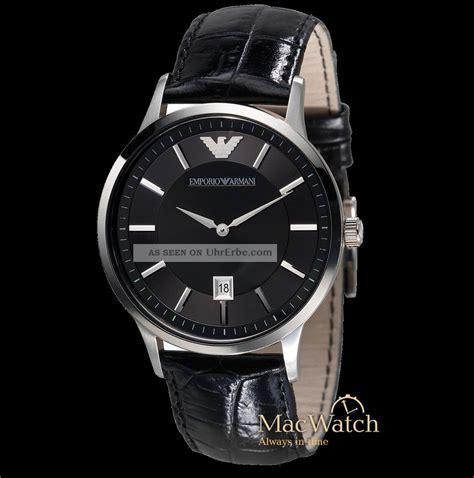 Emporio Armani Herren Uhr Ar2411 Leder Schwarz Ovp