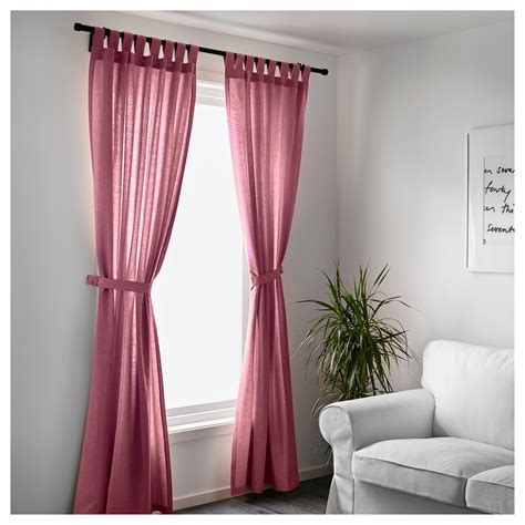 lenda curtains with tie backs 1 pair light red 140x250 cm