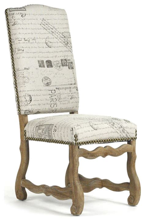 marcelle french country linen script camel  dining chair traditional dining chairs