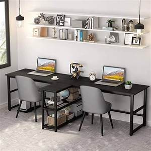 tribesigns, two, person, desk, , modern, 94, 5, u0026quot, , double, workstation, computer, desk, with, storage, shelves