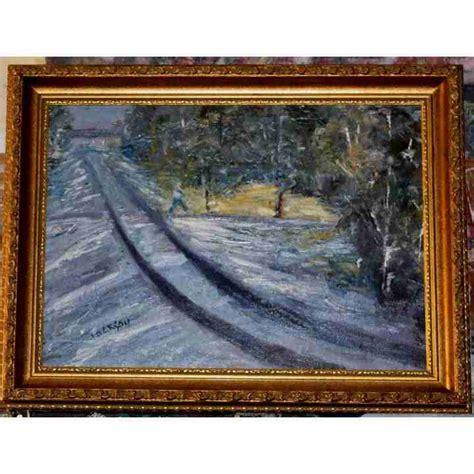 Sale Original impressionist tracks painting for sale original