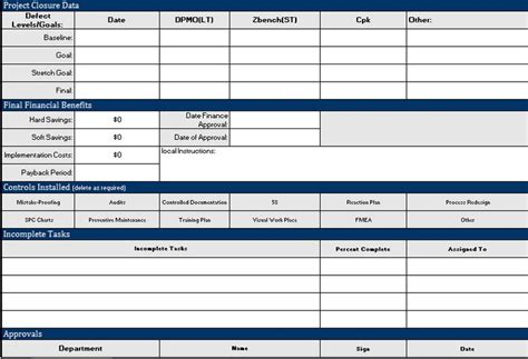 project closure template excel  project managers