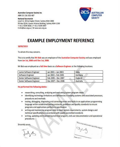acs template 6 hr reference letter templates 6 free word pdf