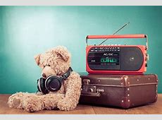 Photo Headphones Radio Suitcase Teddy bear Colored background