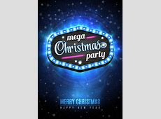 Christmas party with neon poster vector Vector Christmas