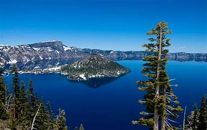 Crater Lake Snow Forests Landscapes Mountains Trees