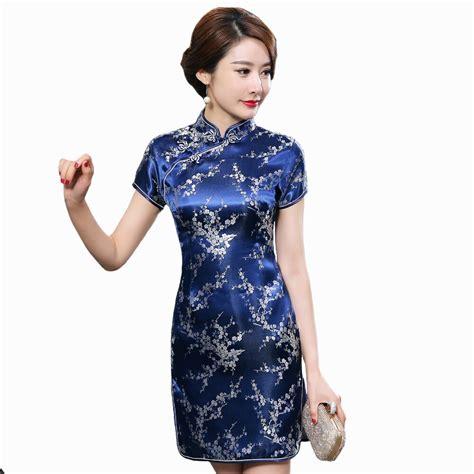navy blue traditionelle chinesische kleid